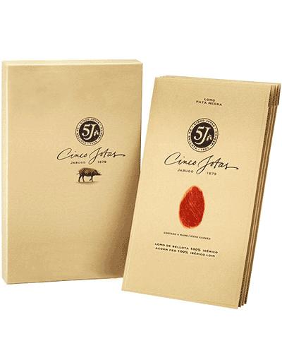 lomo iberico puro di bellota affettato a mano 5j cinco jotas